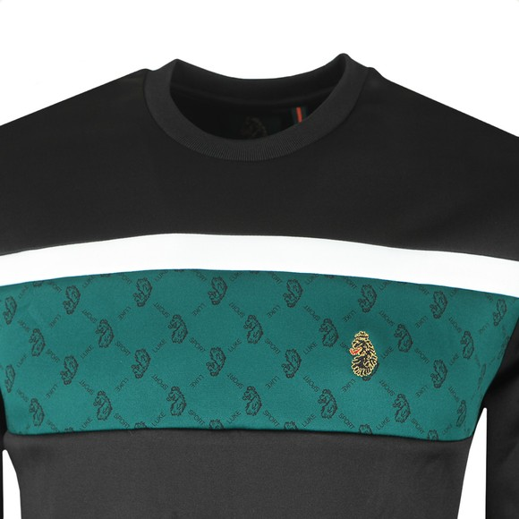 Luke Sport Mens Black Psycho Pierce Overprint Panel Sweatshirt main image