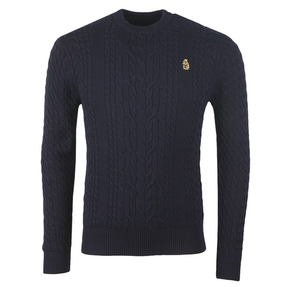 Luke Sport Mens Blue Carter Johnson Cable Knit Jumper