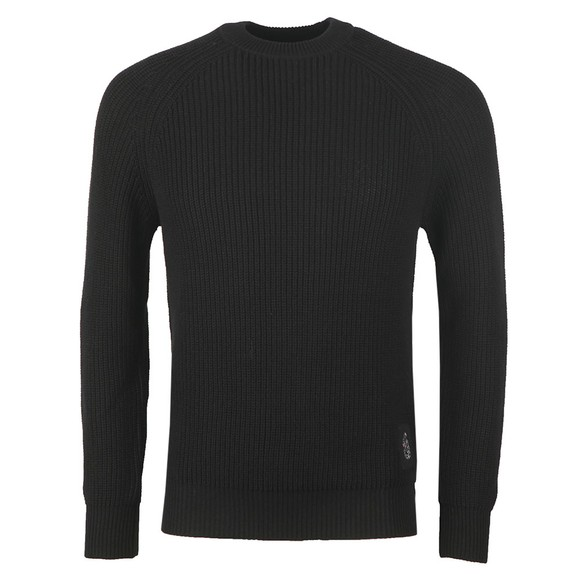 Luke 1977 Mens Black Plated Crew Neck Rib Jumper