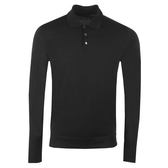 J.Lindeberg Mens Black Noel Silk Wool Mix Polo Shirt