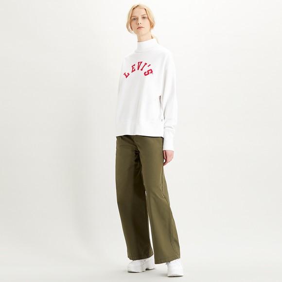 Levi's ® Womens Off-White Varsity Logo Applique High Neck Sweatshirt