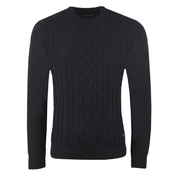 Barbour Lifestyle Mens Blue Chunk Cable Crew Jumper main image
