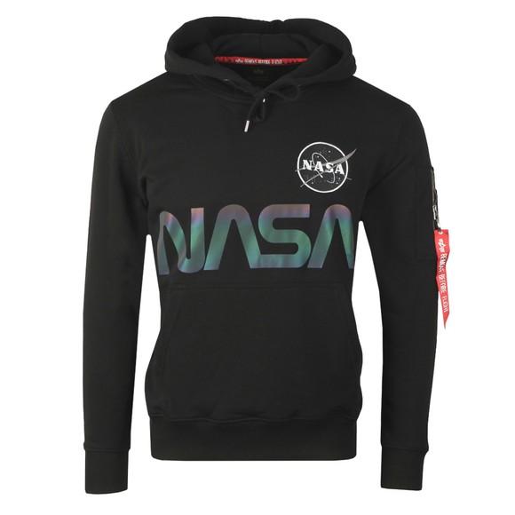 Alpha Industries Mens Black NASA Rainbow Reflective Hoody