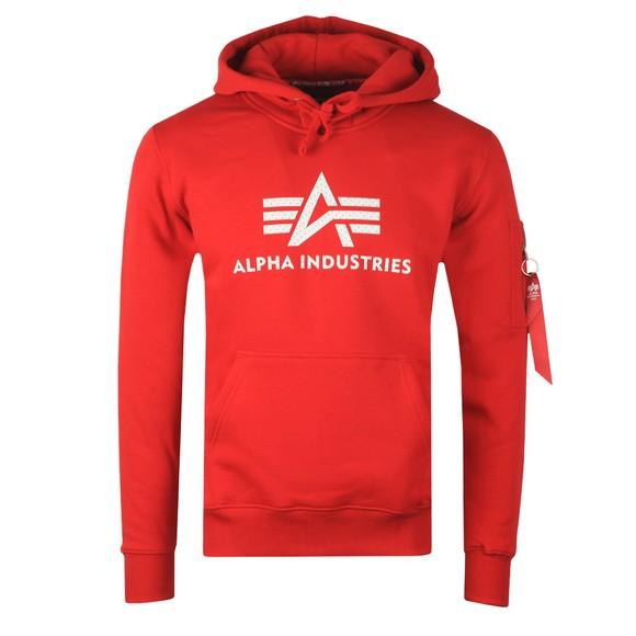 Alpha Industries Mens Red 3D Logo Hoody