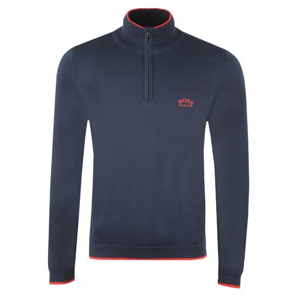 BOSS Mens Blue Athleisure Half Zip Curved Logo Jumper