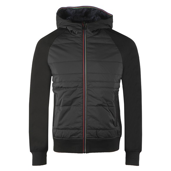 PS Paul Smith Mens Black Mixed Media Hooded Bomber