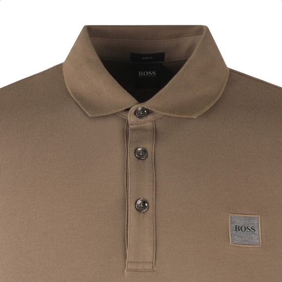 BOSS Mens Brown Casual Passerby Long Sleeve Polo Shirt