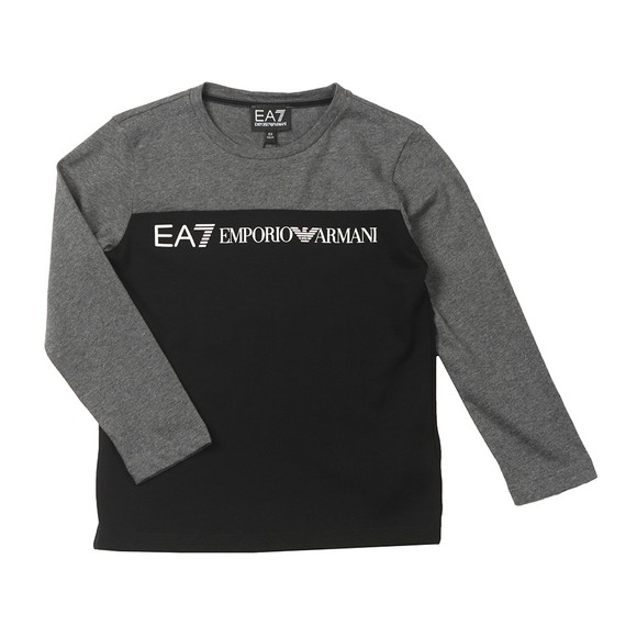 EA7 Emporio Armani Boys Black Block Colour Large Centre Logo T-Shirt
