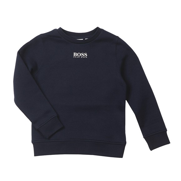 BOSS Boys Blue Small Logo Crew Sweatshirt