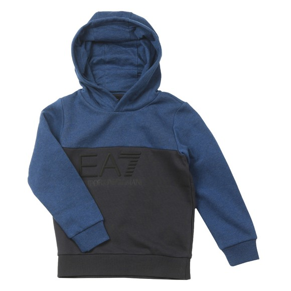 EA7 Emporio Armani Boys Blue Embossed Logo Hoody