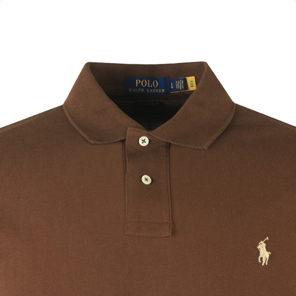Polo Ralph Lauren Mens Brown Custom Slim Fit Long Sleeve Polo Shirt