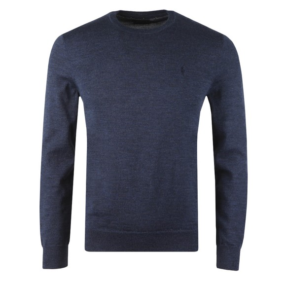 Polo Ralph Lauren Mens Blue Washable Merino Crew Neck Jumper