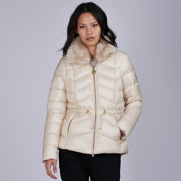 Barbour International Womens Off-White Halfback Quilted Jacket