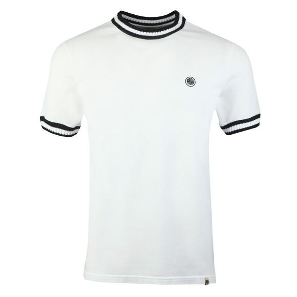 Pretty Green Mens White Tipped Pique T-Shirt main image