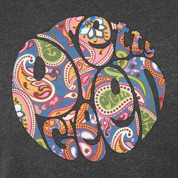 Pretty Green Mens Grey Paisley Print Logo T-Shirt