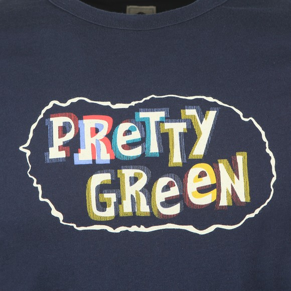 Pretty Green Mens Blue Print T-Shirt