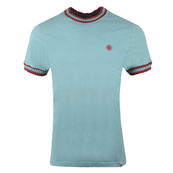Pretty Green Mens Blue Tipped Pique T-Shirt main image
