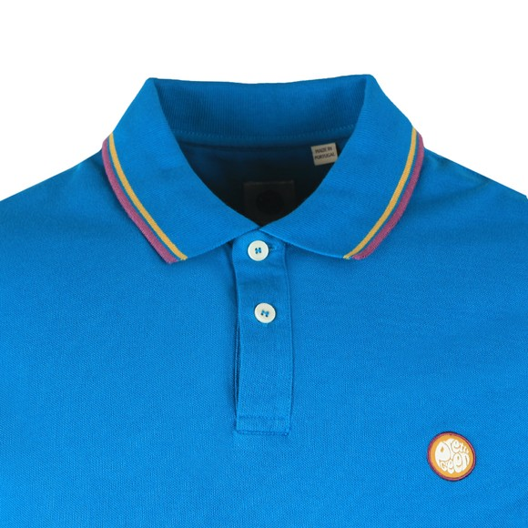 Pretty Green Mens Blue Tipped Pique Polo Shirt