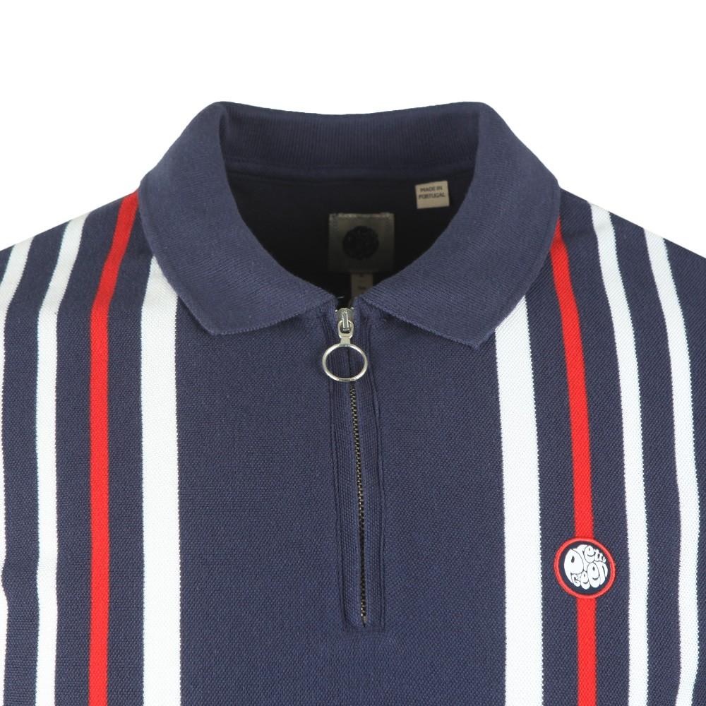Engineered Stripe Zip Polo Shirt main image