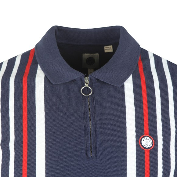 Pretty Green Mens Blue Engineered Stripe Zip Polo Shirt