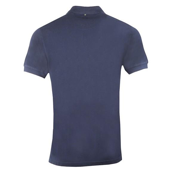 Pretty Green Mens Blue Engineered Stripe Zip Polo Shirt main image