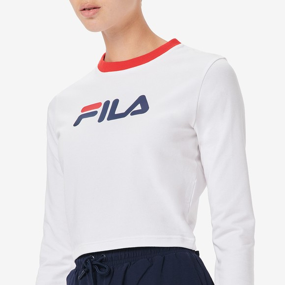 Fila Womens White Jaya Long Sleeve Crop T Shirt