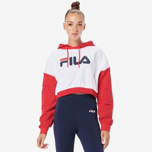 Fila Womens White Saachi Logo Hoody