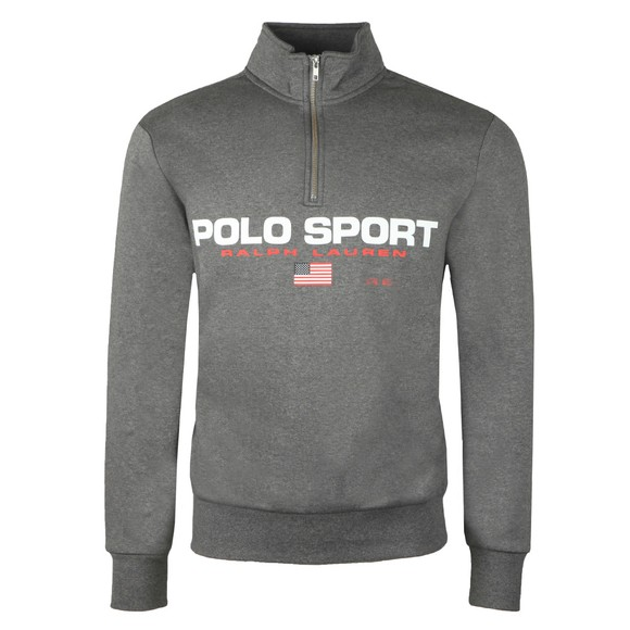 Polo Sport Ralph Lauren Mens Grey Logo Half Zip Sweatshirt