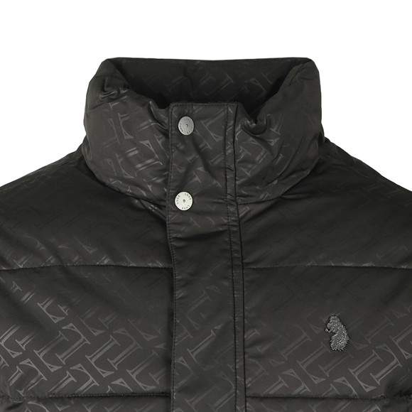 Luke 1977 Mens Black Day Owl Jacquard Overprint Detail Quilted Funnel Jacket