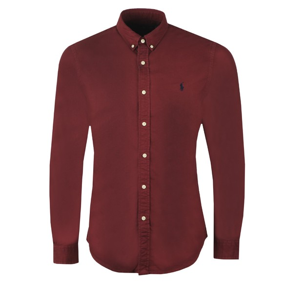 Polo Ralph Lauren Mens Red Slim Fit Button Down Oxford Shirt