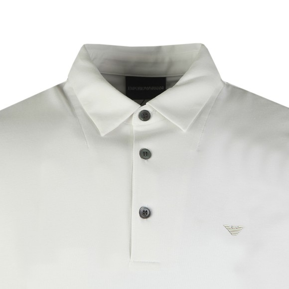 Emporio Armani Mens White Small Logo Pima Polo Shirt