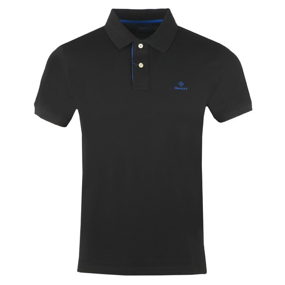 Gant Mens Black Contrast Collar Rugger Polo Shirt