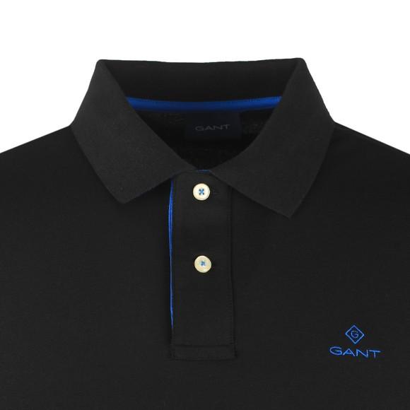Gant Mens Black Contrast Collar Rugger Polo Shirt