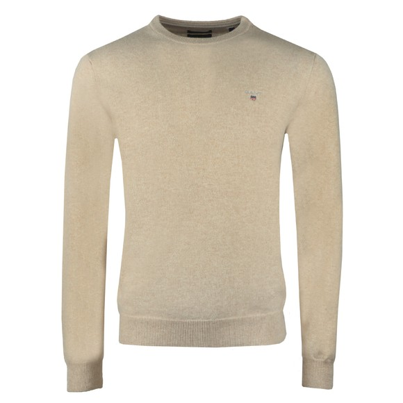 Gant Mens Beige Superfine Lambswool Crew Jumper