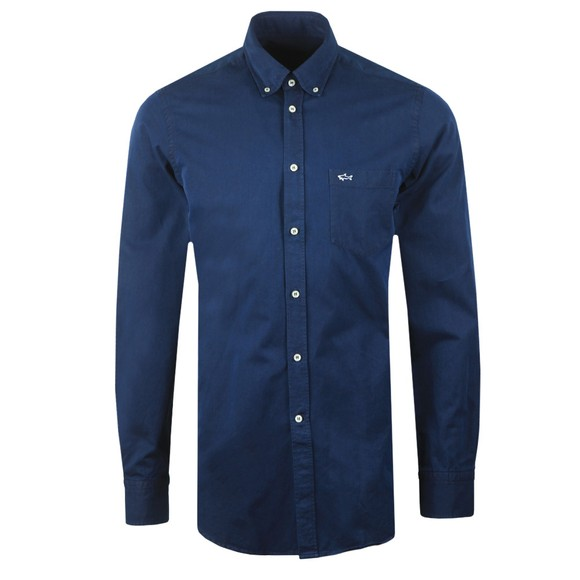 Paul & Shark Mens Blue Shark Logo Oxford Shirt