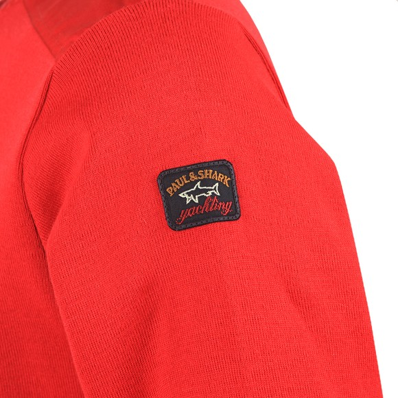 Paul & Shark Mens Red Shoulder Detail Crew Jumper