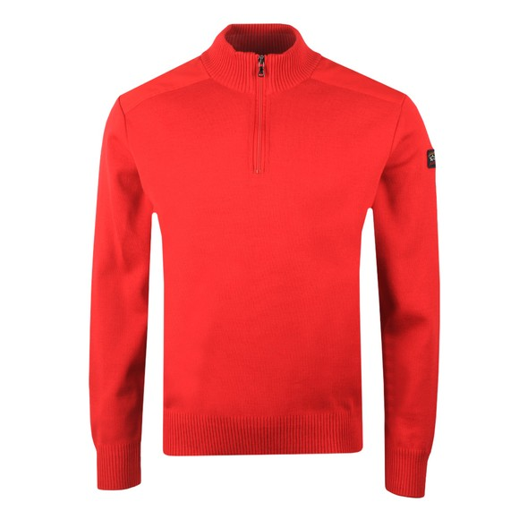Paul & Shark Mens Red Knitted Half Zip Jumper