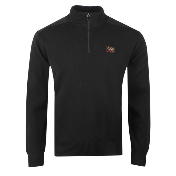 Paul & Shark Mens Black Knitted Half Zip Jumper