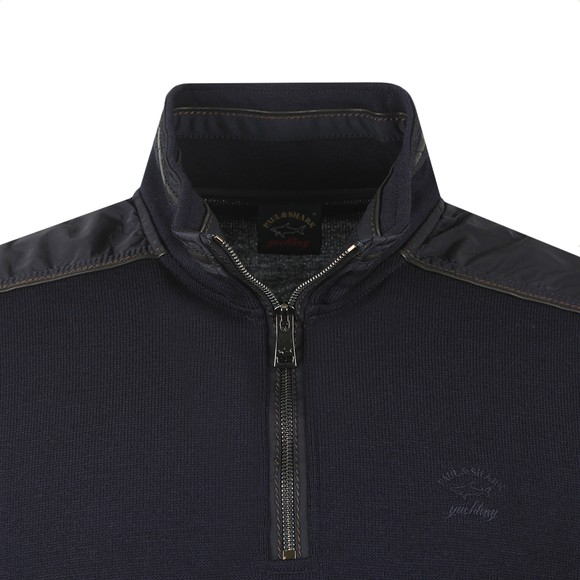 Paul & Shark Mens Blue Shoulder Panel Half Zip Sweatshirt