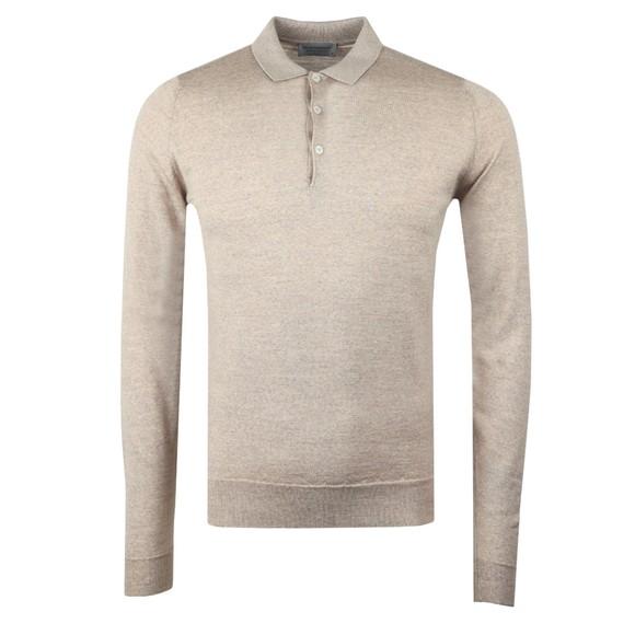 John Smedley Mens Beige Belper Long Sleeve Polo Shirt