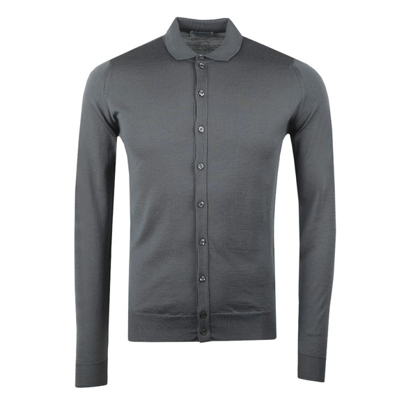 John Smedley Mens Grey Belper Long Sleeve Polo Shirt