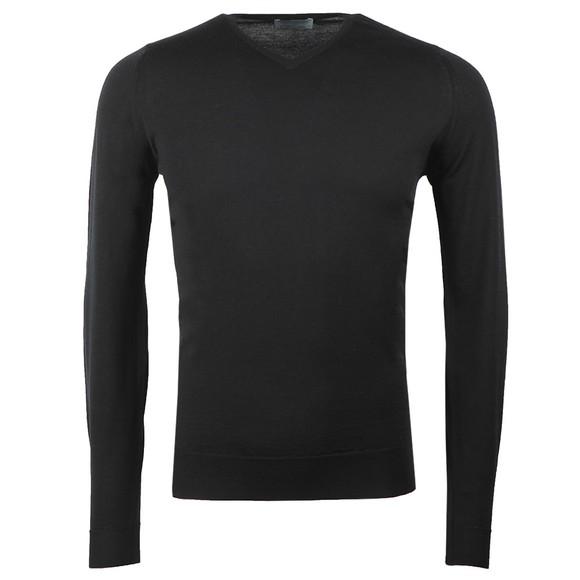 John Smedley Mens Black Shipton V Neck Pullover