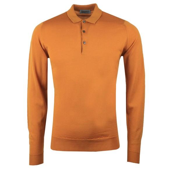 John Smedley Mens Yellow Belper Long Sleeve Polo Shirt