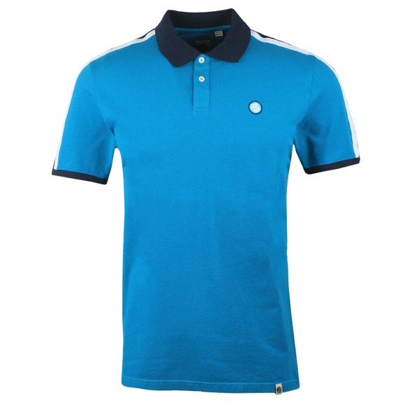Pretty Green Mens Blue Contrast Panel Polo Shirt main image