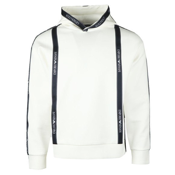 Emporio Armani Mens Off-White Body Tape Overhead Hoody