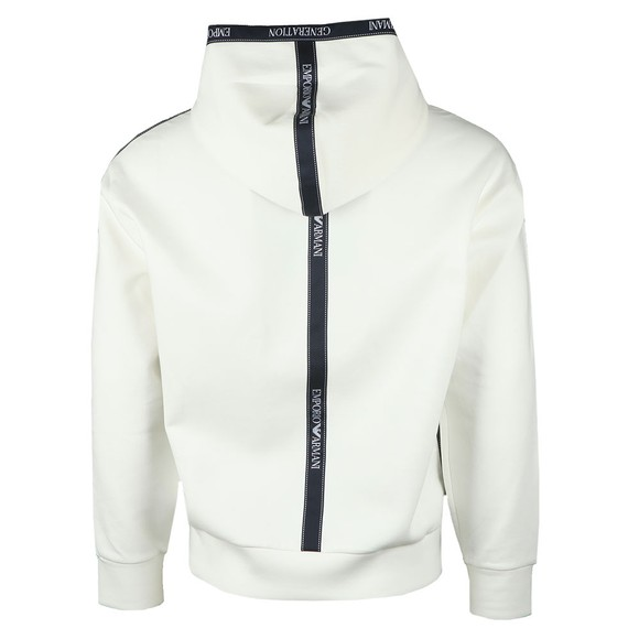 Emporio Armani Mens Off-White Body Tape Overhead Hoody main image