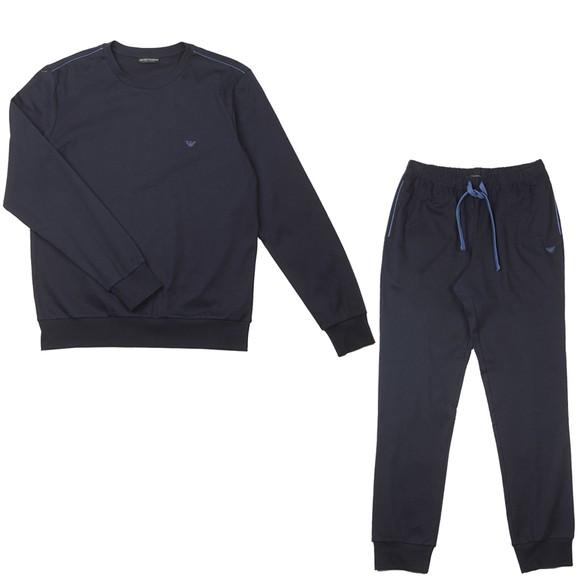 Emporio Armani Mens Blue Small Logo Crew Neck Loungewear Tracksuit