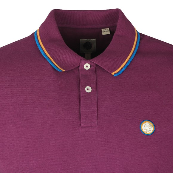 Pretty Green Mens Purple Tipped Pique Polo Shirt