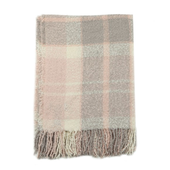 Barbour Lifestyle Womens Pink Tartan Boucle Scarf
