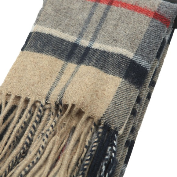 Barbour Lifestyle Mens Beige Yaxley Tartan Scarf main image
